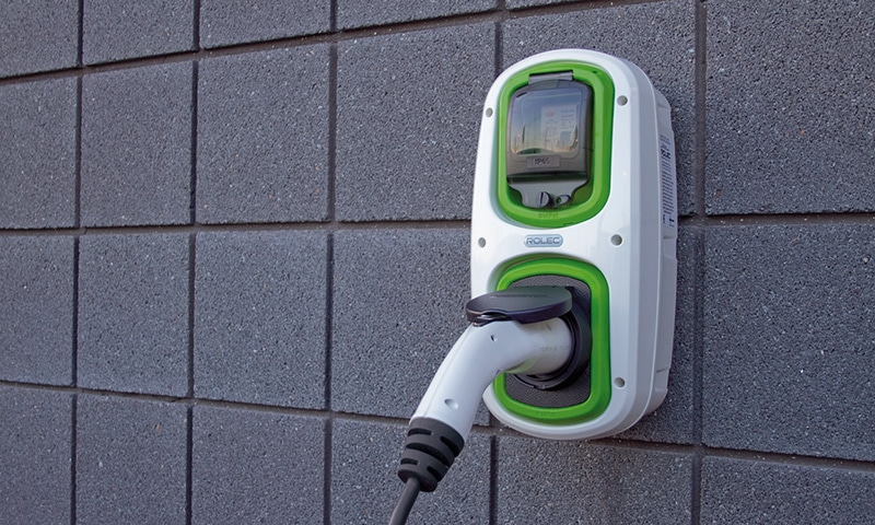 Rolec charge point on wallpod in Scotland
