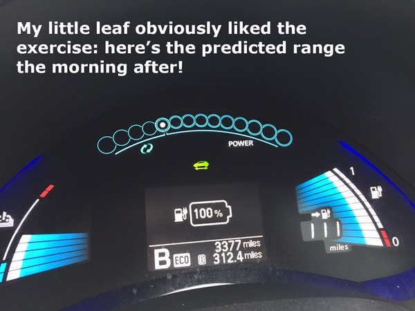 Nissan Leaf predicted range after charging