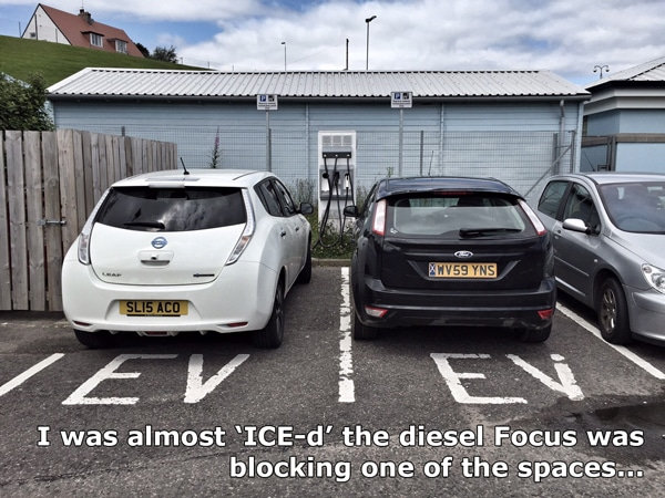 Nissan leaf charging while space blocked by focus